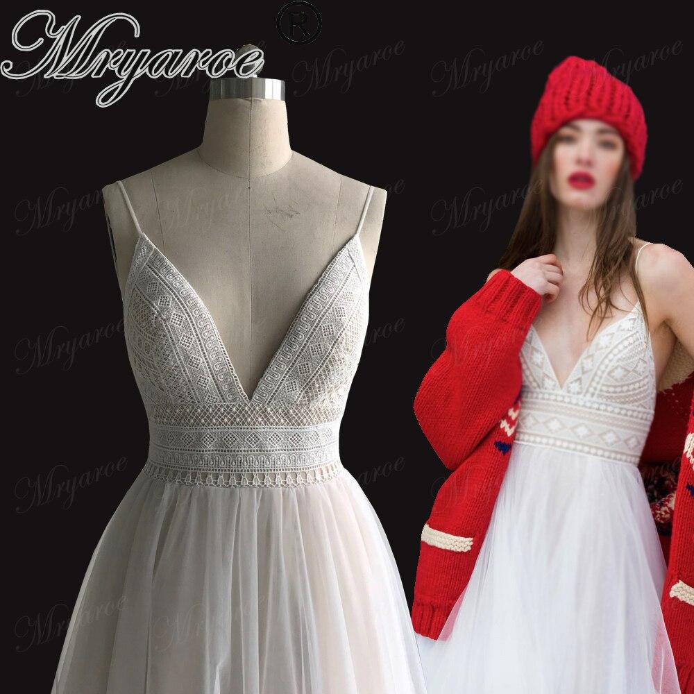 Mryarce 2019 Sexy Deep V Neck Open Back Bohemian Wedding Dress Spaghetti Straps Charming Lace Tulle Beach Bridal Gowns