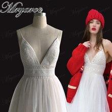 Mryarce Sexy Deep V Neck Open Back Bohemian Wedding Dress Spaghetti Straps Charming Lace Tulle Beach Bridal Gowns