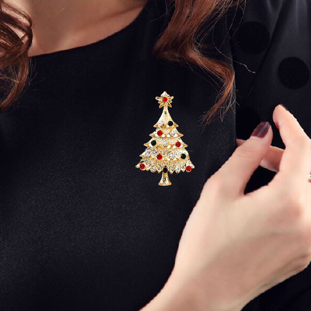 Cute Crystal Christams Tree Pin Brooches For Women Fashion High-end Elegant Jewelry Chri ...