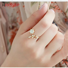 HFXSSSP Fashion inlaid rhinestone twisted leaves wishful flower opening ring index finger ring female ring jewelry bohemian leaves circle finger ring