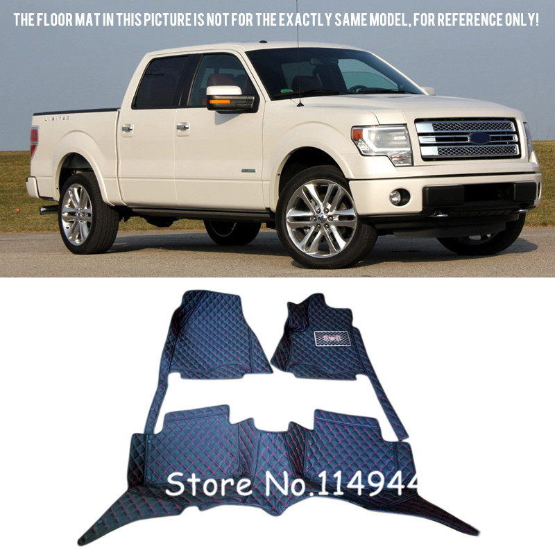 For Ford F150 F-150 2009-2014 (4 Doors) Interior Durable Auto Waterproof Custom Car Floor Mats Carpets  Front & Rear  Floor mats 3d trunk mat for peugeot 508 waterproof car protector carpet auto floor mats keep clean interior accessories