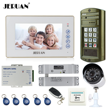 "JERUAN 7"" Video Door Phone  Intercom System kit Metal panel Access waterproof password HD Mini Camera +Security Camera 2V1"