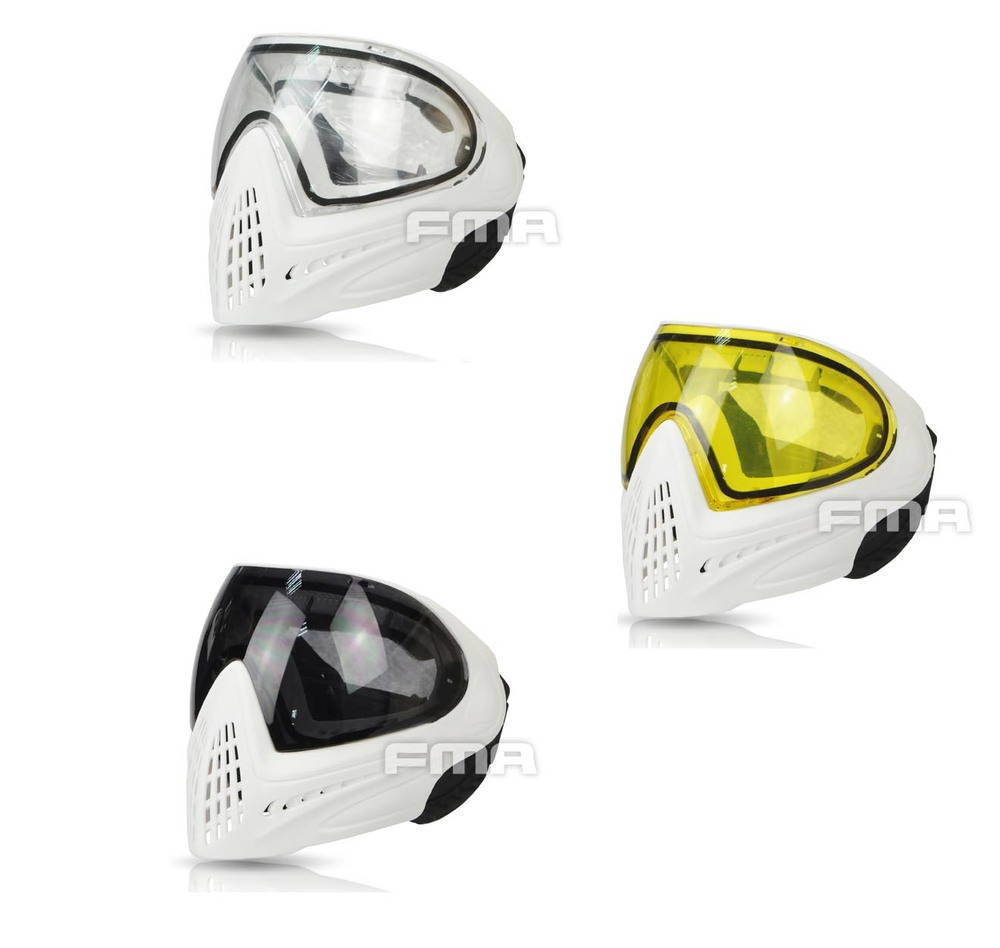 All White Frame FMA F1 Outdoor Sports Safety Anti fog Goggle Full Face Mask Free Shipping