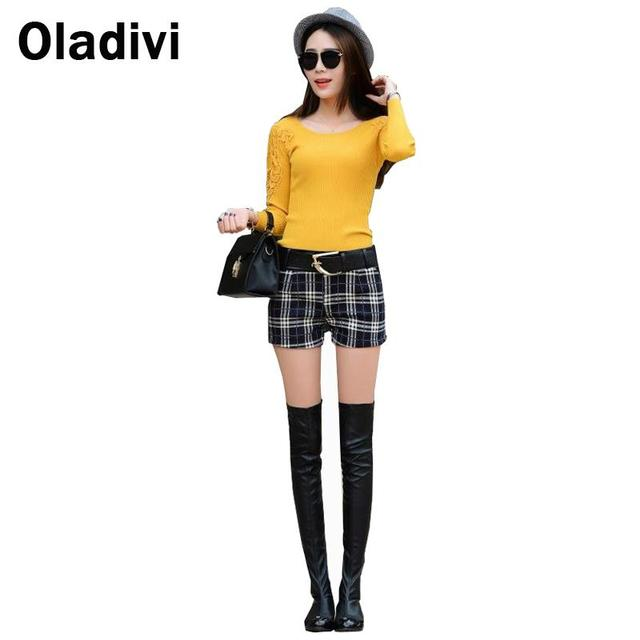 2016 New Fashion Female Vintage Dark Plaid Shorts Low Waisted Korean Style Casual Women PU Leather Pathwork Short Trousers Girls