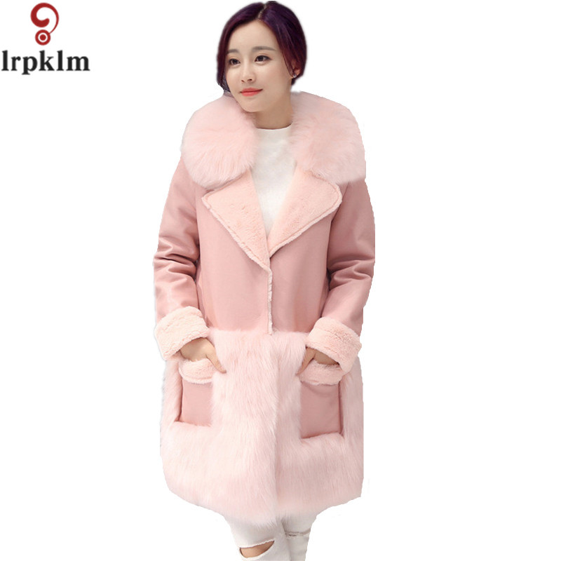 2017 New Autumn Women Faux   Leather   Jacket Fur Collar Luxury Winter Coats Female Thick Warm Leisure Loose Pink Outerwear LZ315