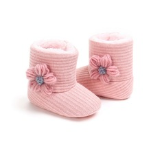 Fashion Baby Girls Newborn Winter Warm Knit Boots Toddler Infant Soft Sole Shoes Flower Baby Shoes 0-18M