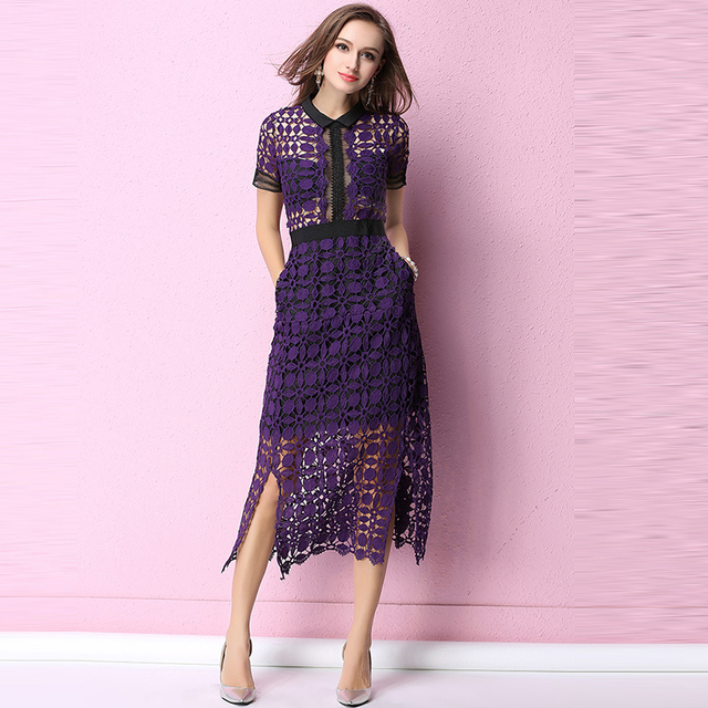 7cc4186c365 Purple Red Lace Dress Summer 2018 Hollow Out Long Party Office Vintage Girls  Lace Dresses Women Clothing Girl Sexy Slim Dress