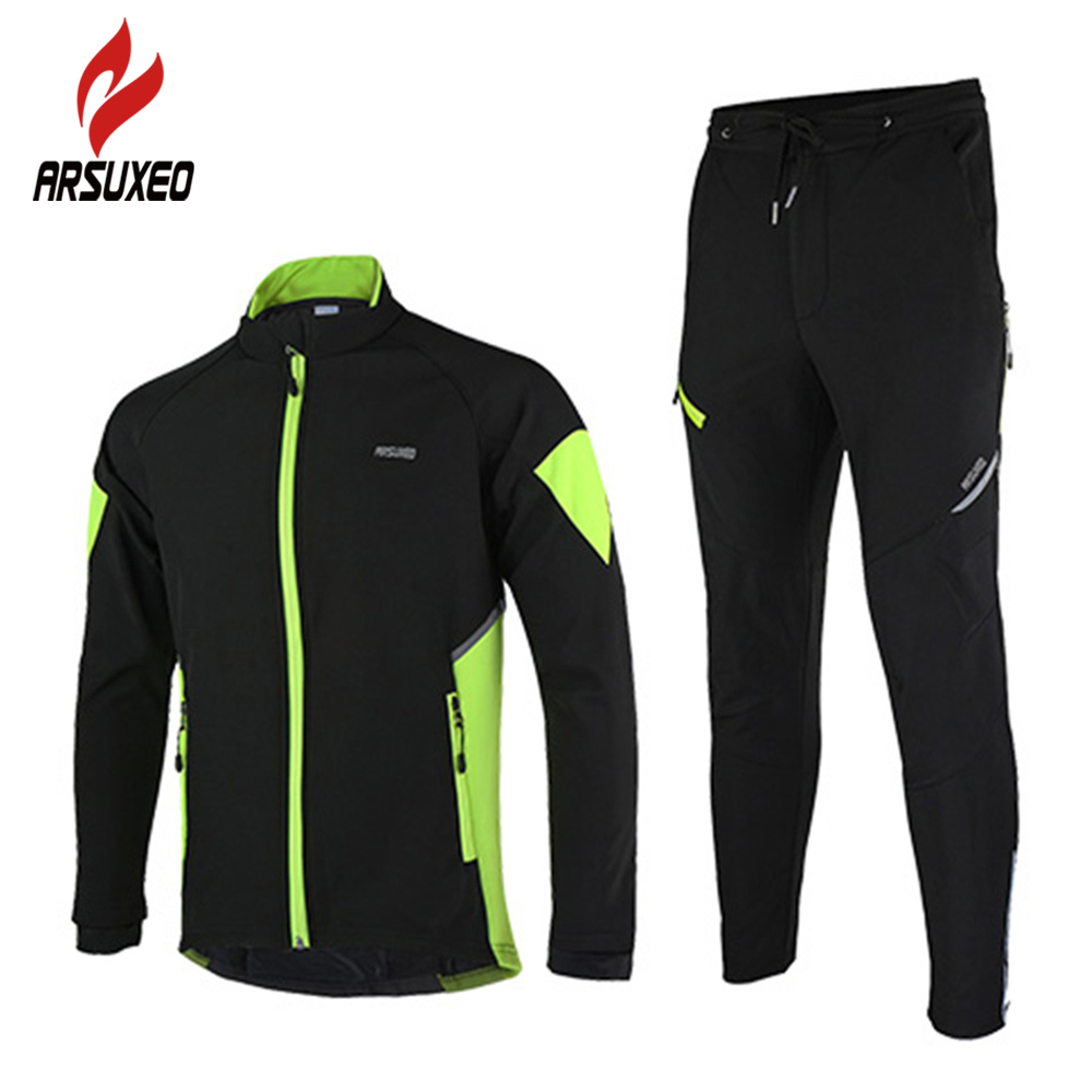 ARSUXEO Fleece Thermal Cycling Jacket Pants Winter Warm Up Bicycle Set Clothing Windproof Waterproof Soft Shell Wind Coat Suit arsuxeo cycling short pants