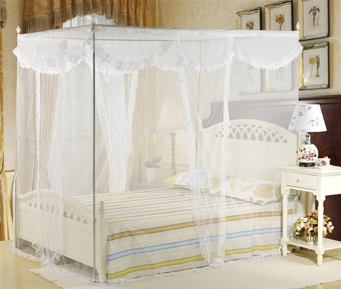 4 Post Bed Canopy Four Corner Point Insect Mosquito Net Fly Netting Mesh Beds Canopy Bedroom Curtain No Frame/Holder-in Mosquito Net from Home u0026 Garden on ... & 4 Post Bed Canopy Four Corner Point Insect Mosquito Net Fly ...