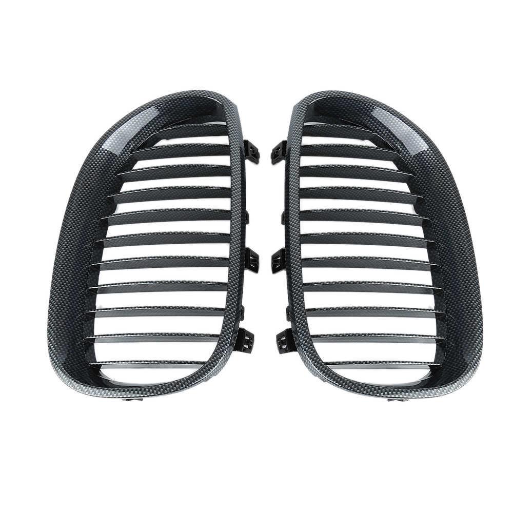 Ginjal Liplasting 1 Pair Carbon Fiber Depan Grille untuk BMW 2003-2009 E60 E61 5 Series M5 Mobil-styling Racing Grills