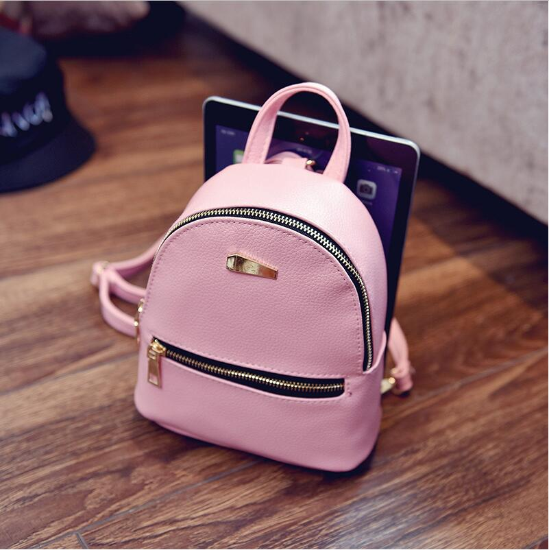 cdb49d44c85 New women s fashion mini backpack girl casual wild soft leather backpack  women retro design girls black backpack school bags -in Backpacks from  Luggage ...