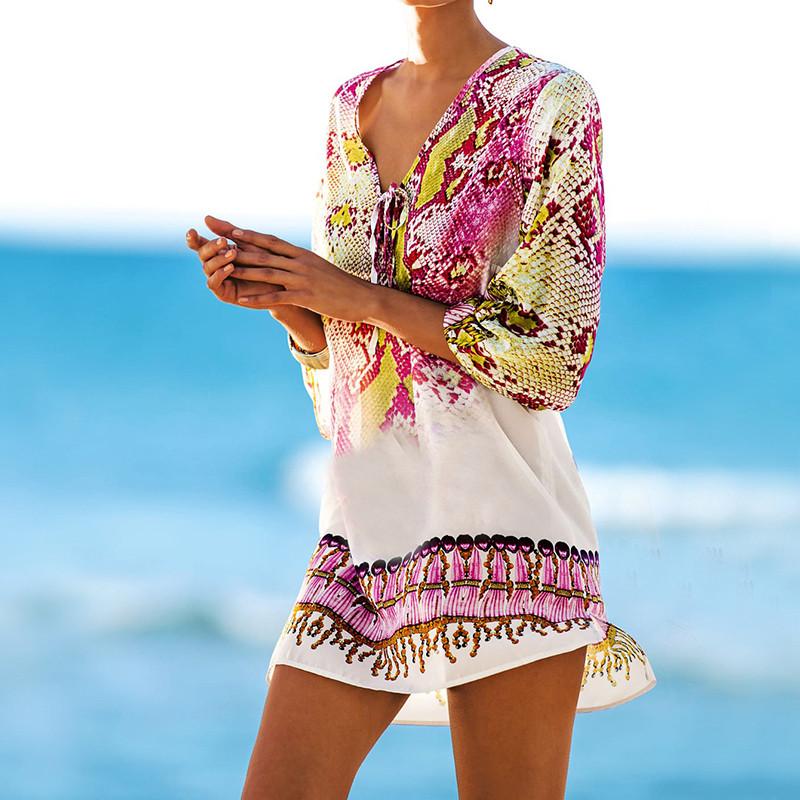 HTB1fEkROFXXXXaGXXXXq6xXFXXXQ - Women's Beach Wear - Stylish Beach Swimsuit Cover Up Tunic with Snake Print