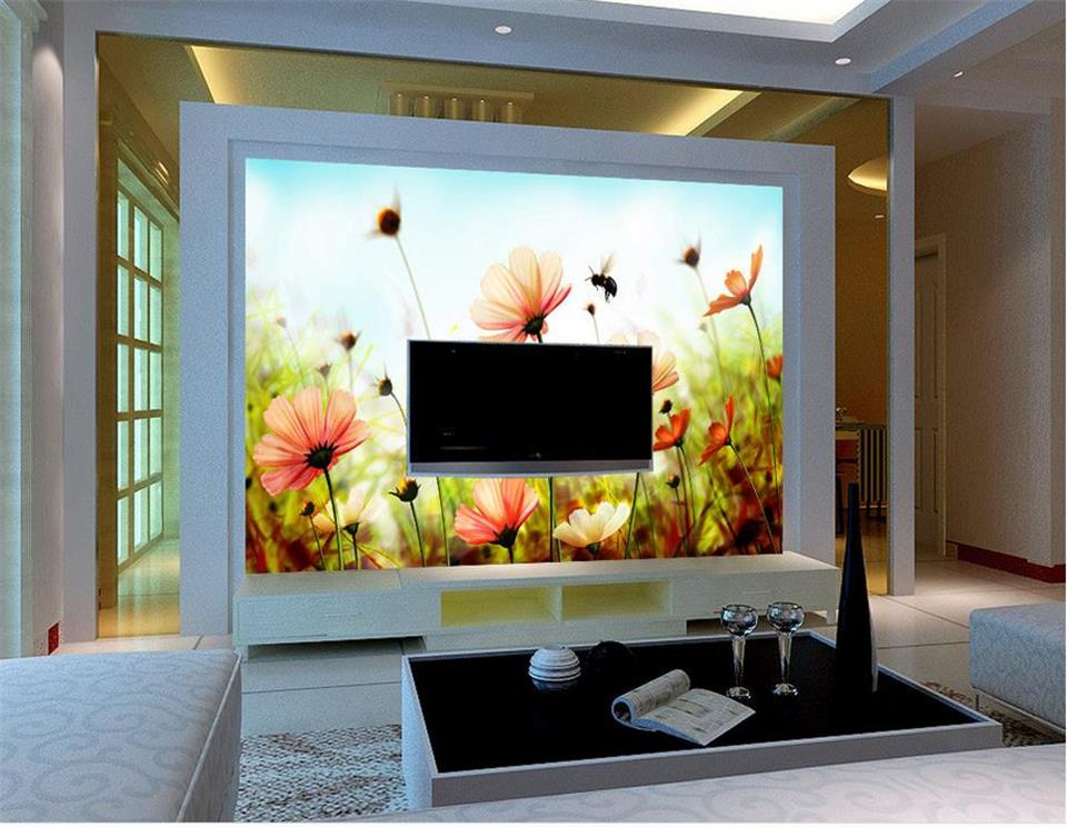 3d photo wallpaper custom mural room non-woven Flower color bee dream  painting picture 3d wall murals wallpaper for walls 3d 3d room custom wallpaper photo non woven mural picture 3d fantasy forest birds decoration painting wallpaper for walls 3 d