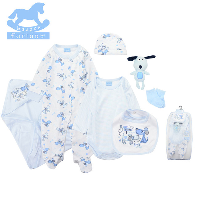 a5745e056 Luvena Fortuna baby clothes set Cotton Bodysuit Bib Mitten 7 Pieces ...