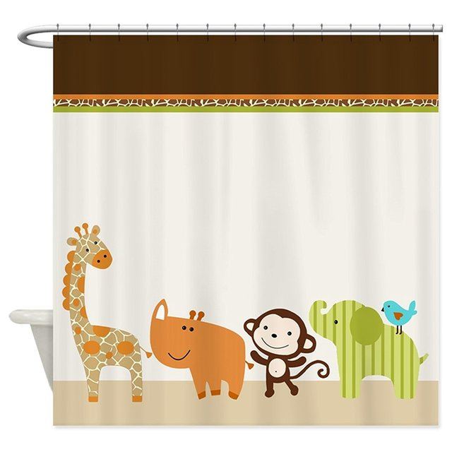 Memory Home Cute Wildlife Jungle Animals Kids Shower Curtain Liner Polyester Fabric Waterproof Curtains