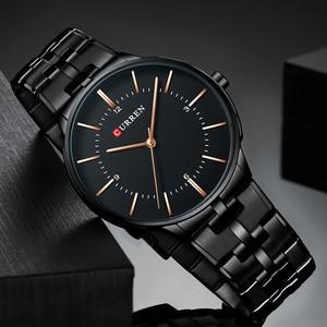 Image 4 - 2019 Top Brand CURREN Luxury Quartz Watches for Men Wrist Watch Classic Black Stainless Steel Strap Mens Watch Waterproof 30M