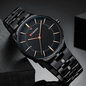 Image 4 - CURREN relojes de cuarzo para hombre, reloj de pulsera clásico negro con correa de acero inoxidable, resistente al agua hasta 30M, 2019