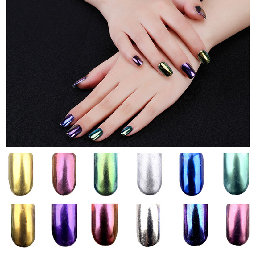 hot sell 6 colorset laser chameleon magic mirror powder with brush chrome pigment powder - Laser Colorant Puls