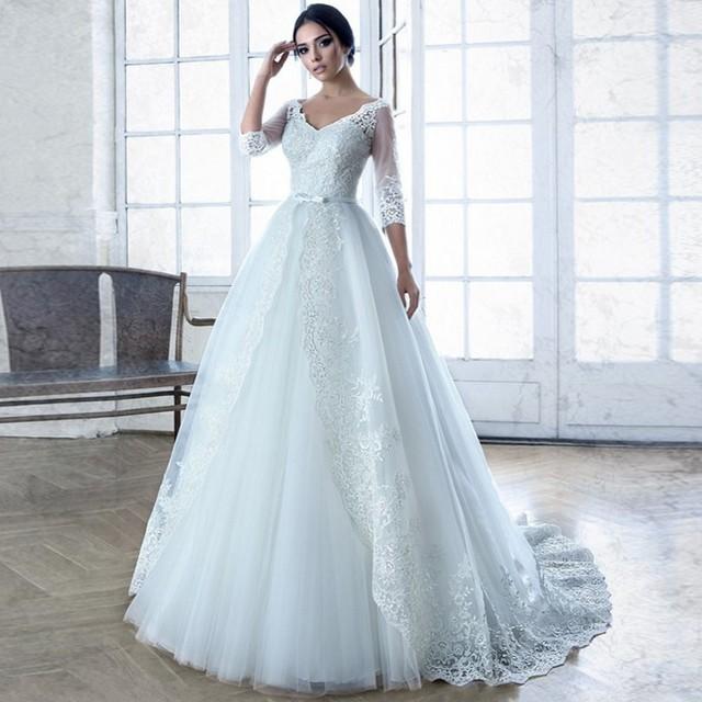 2016 Romantic Vestidos De Novia Sexy Three Quarter Sleeves Wedding Dresses A-line White Tulle Appliques Bridal Gown AR2071