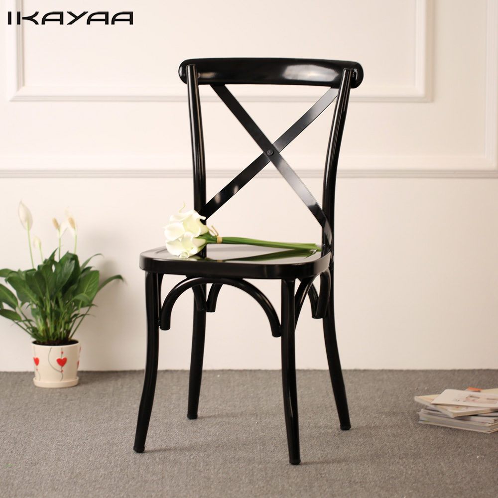 IKayaa Industrial Style Metal Kitchen Dining Chairs Stool Ergonomic Design  For Dining Room US UK FR Part 78