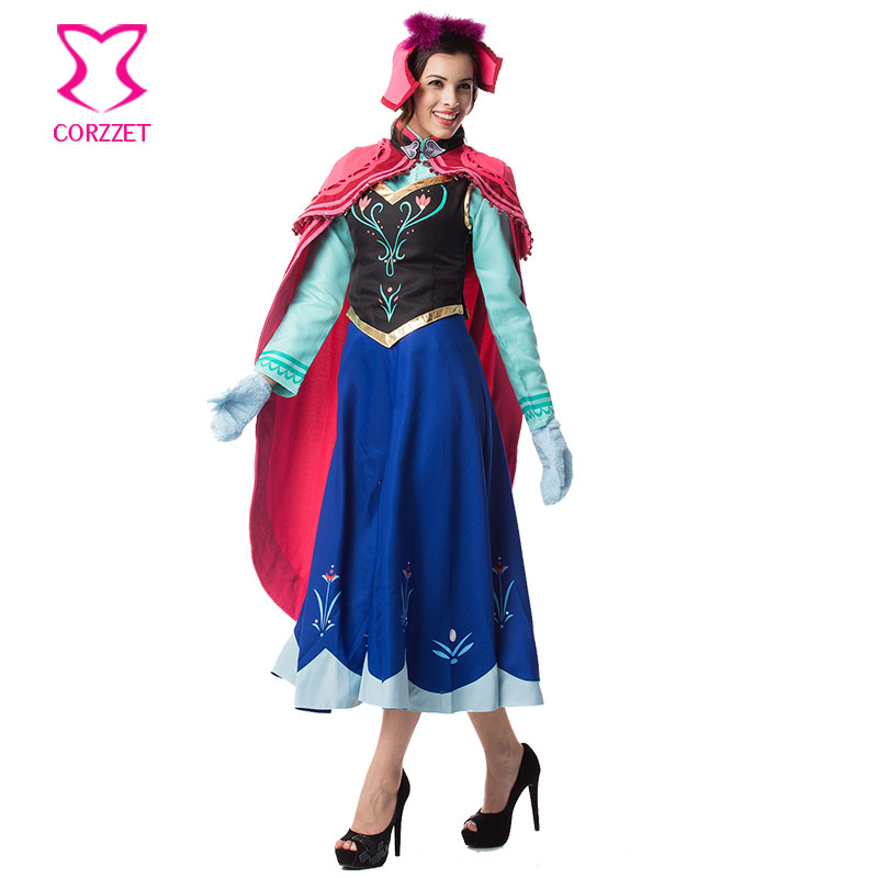 Ice Snow Fantasy Princess Anna Costume Cosplay Gothic <font><b>Disfraces</b></font> Adultos <font><b>Sexy</b></font> <font><b>Halloween</b></font> Costumes For Women Lolita dress Six-piece image