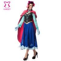 Ice Snow Fantasy Princess Anna Costume Cosplay Gothic Disfraces Adultos Sexy Halloween Costumes For Women Lolita dress Six piece