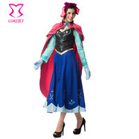 Ice Snow Fantasy Princess Anna Costume Cosplay Gothic Disfraces Adultos Sexy Halloween Costumes For Women Lolita dress Six piece