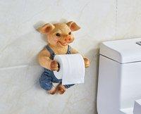 3D Toilet Paper Holder Toilet Hygiene Resin Tray Free Punch Hand Pig Tissue Box Household Paper