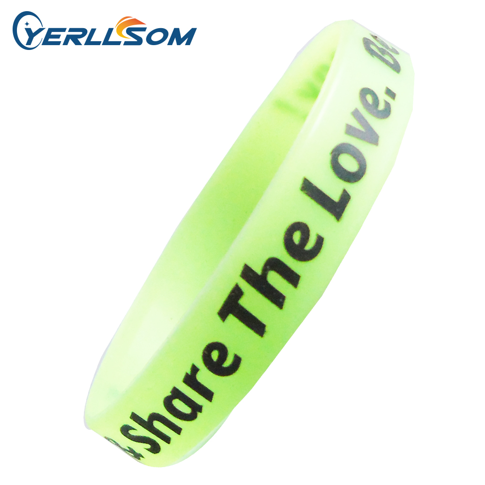 YERLLSOM 200pcs lot High Quality Custom personalized Printing Logo Silicone Bracelets for Gifts S041702