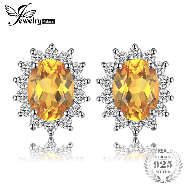 JewelryPalace Kate Princess Diana 1.1ct Natural Citrine Halo Stud Earrings 925 S