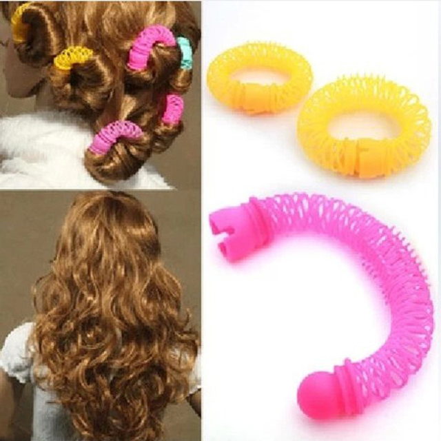 8pcs girls curler hair curlers elastic ring bendy curler spiral