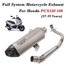 Full System Motorcycle Exhaust Modified Muffler Front Link Pipe DB Killer For Honda PCX125 PCX150 2017 2018 2019 Years Slip on цены онлайн