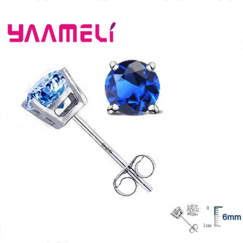 8 Colors Cubic Zirconia Earrings Stud New Fashion 925 Sterling Silver For Women Ladies Crystal Jewelry Gift Accessories 1