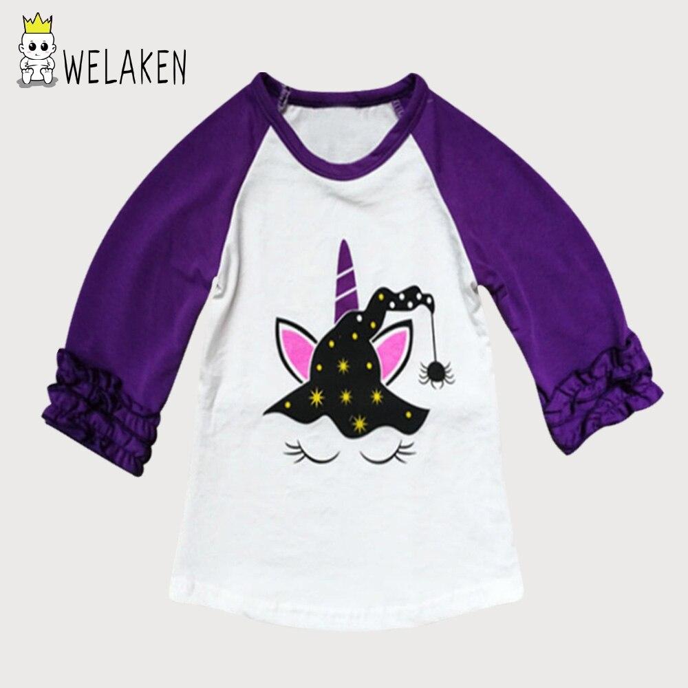 WeLaken Enfants Bande Dessinée Halloween Licorne T-shirts Pour Filles 2018 À Manches Longues T Shirts Enfant Enfants Vêtements Bébé Filles Tops