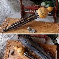 Black Bamboo Hulusi Flute Gourd Flauta Hulusi G F Key Calabash Flute Hulusi Folk Instrument Professional Calabash Flauta Hulusi