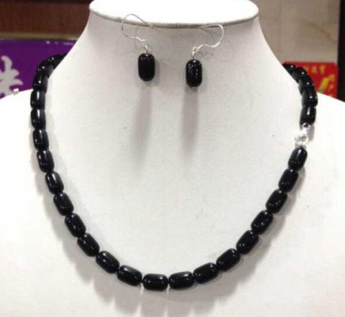 """Nouveau mode 8X12 MM colonnes noir agate collier 18 """"+ boucles d'oreilles"""