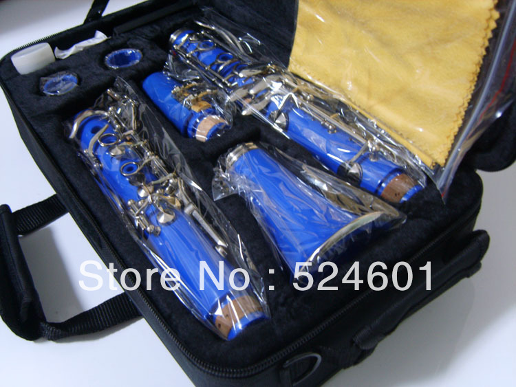 Wholesale beautiful gift manufacturers 17 key bakelite clarinet in B flat surface of the blue