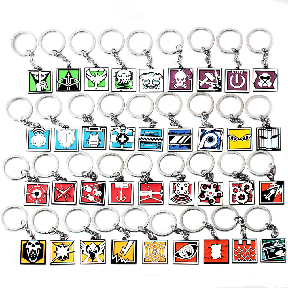 Rainbow Six Siege Keychain Zinc Alloy Keyring Metal Pendant Men Women Jewelry Fans Gift Colorful Charms Accessories Keychians