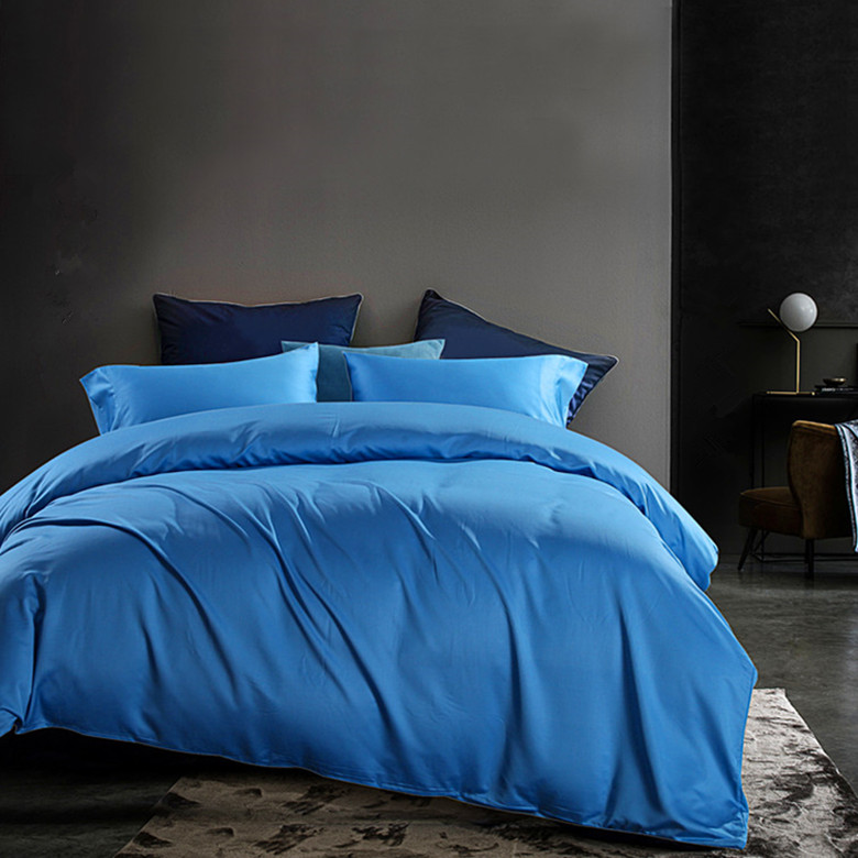 100% Bamboo Fiber bactericidal Eco-Friendly flat sheets set blue color 4 pieces bedding set on sale