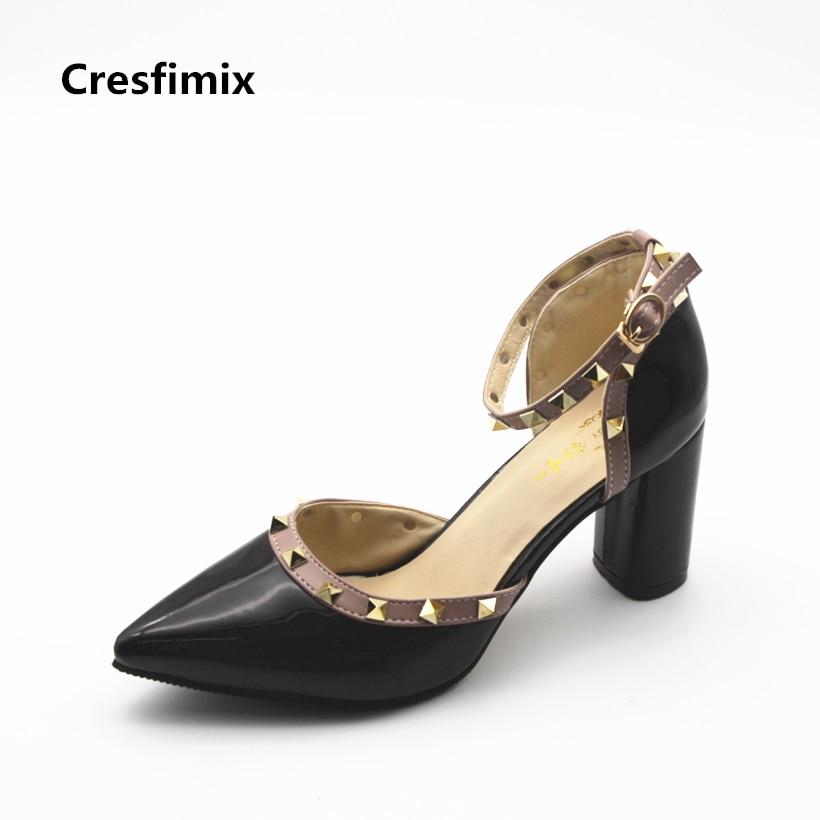 Cresfimix femmes hauts talons women fashion high quality rivet high heel shoes lady sexy party spring & summer 7cm high heels cresfimix women fashion spring