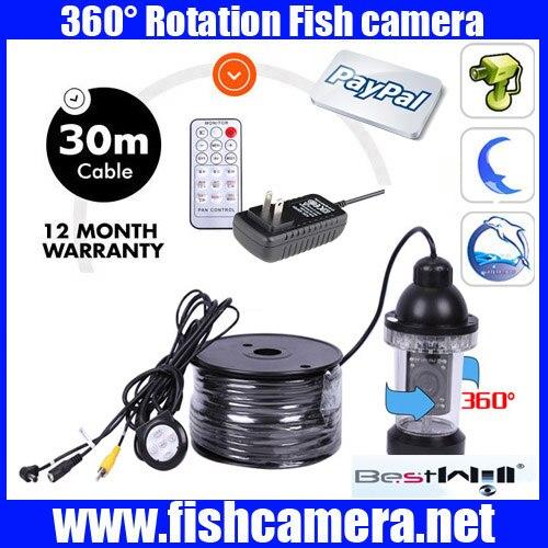 30m COLOR CCD 360 Rotatabl underwater video camera 360 Rotation underwater fish video camera with power