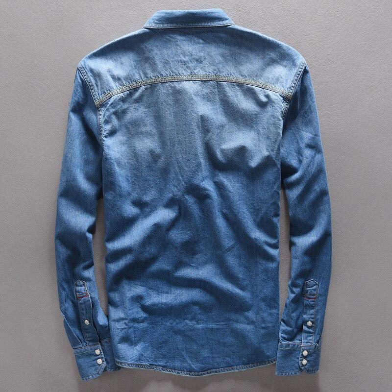 Top quality Vintage mens shirts Light Blue Jeans Collar Shirt Men Casual Autumn spring streetwear Long Sleeve Denim tops Cotton