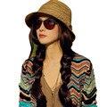 Hot nuevas mujeres para mujer sombreros de verano de chicas Casual Floppy Sun de la paja sombrero gorras de rayas playa de Bohemia sombreros para mujeres barato Z1