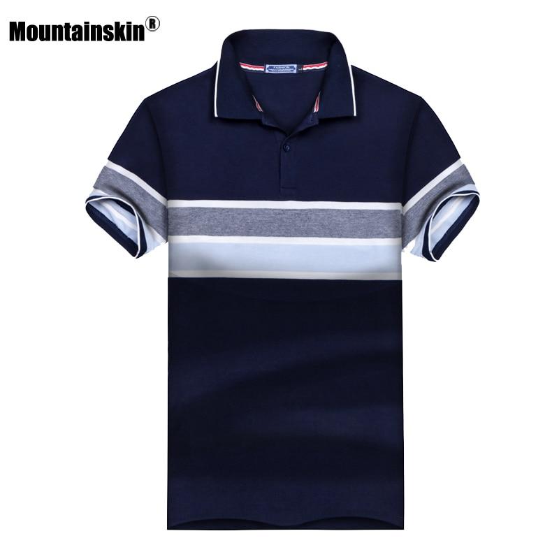 Mountainskin New Summer Men's   Polo   Shirt Stand Collar Cotton Short Sleeve Camisas   Polos   Male   Polo   Shirts Men Tops 3XL SA441
