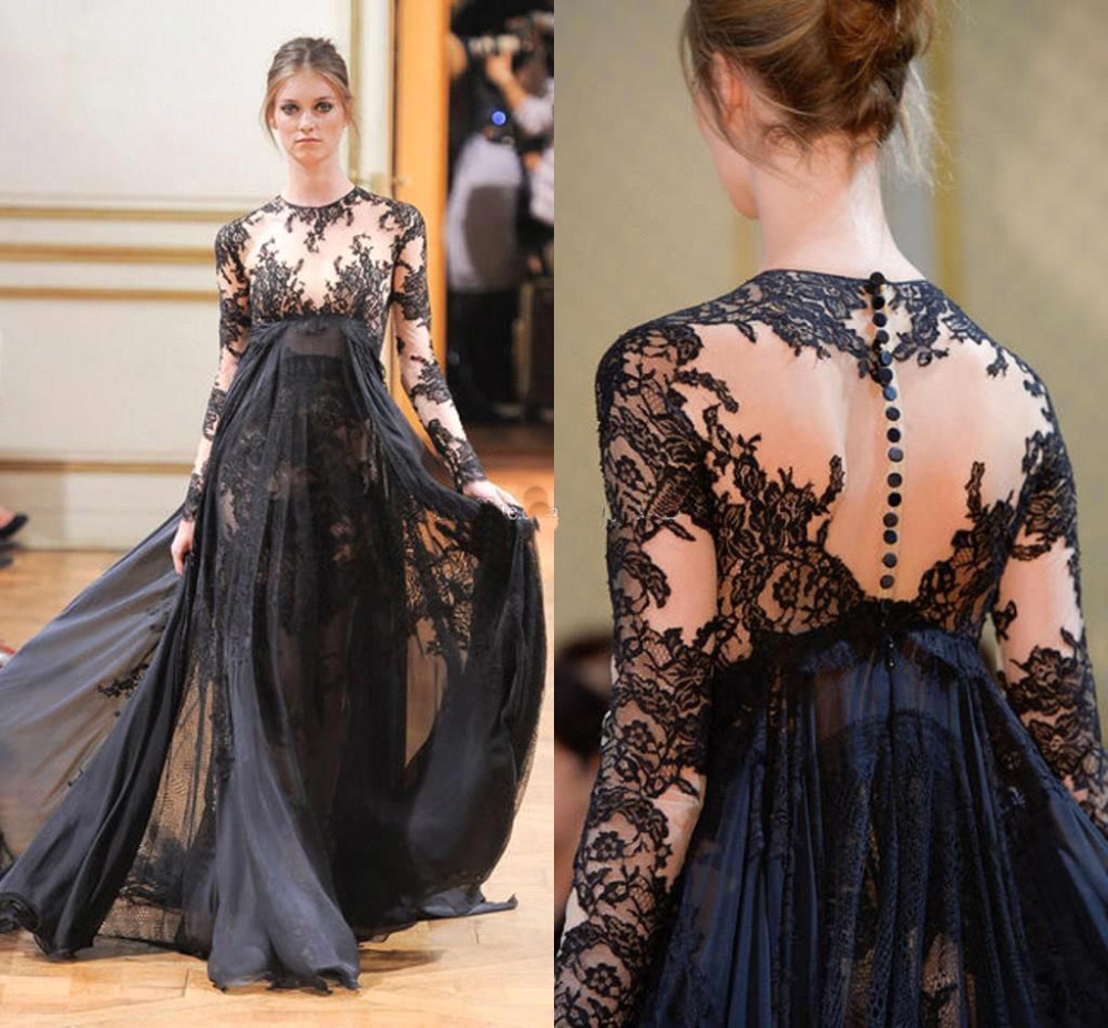 Black Lace Long Elegant Evening Dress Zuhair Murad Runway Prom Special Occasion Gowns 2016 In Dresses From Weddings Events On Aliexpress