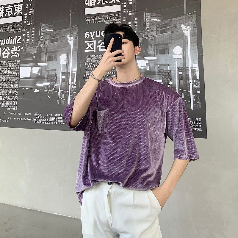 Men 39 s T shirt 2019 summer new slimming short sleeve seven point sleeve original loose large size round collar casual men in T Shirts from Men 39 s Clothing