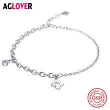 Fashion Silver Four Leaf Clover Bracelet 925 Sterling Women Accessories AAA CZ Bracelets Valentines Day Gift