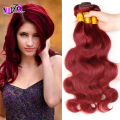 Aliexpress UK Cheap sale Virgin Brazilian Body Wave Hair Bundles 3Pcs Lot Burgundy Wine Dark Red #99j Human Hair Weaves In Stock