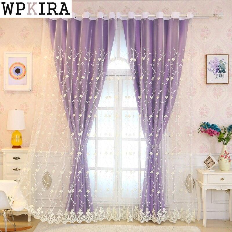 Violet double semi-occultant rideaux cuisine rideaux fenêtre salon rideau panneau brodé rideau tissu S059 & 20