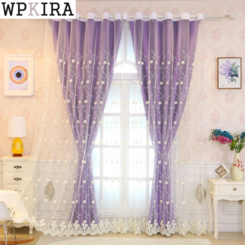 purple double semi-blackout curtains kitchen curtains window living room curtain panel embroidered curtain fabric S059&20purple double semi-blackout curtains kitchen curtains window living room curtain panel embroidered curtain fabric S059&20